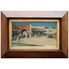19th Century French Oil on Wood Orientalist Painting with Frame