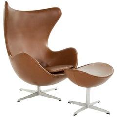 Arne Jacobsen for Fritz Hansen Egg Chair and Footstool, Denmark, 1966