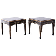 Pair of Italian Neoclassical Parcel-Gilt Lacquered Drink Tables