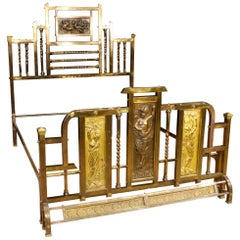 20th Century Gilt Metal, Bronze and Brass Italian Double Bed, 1950