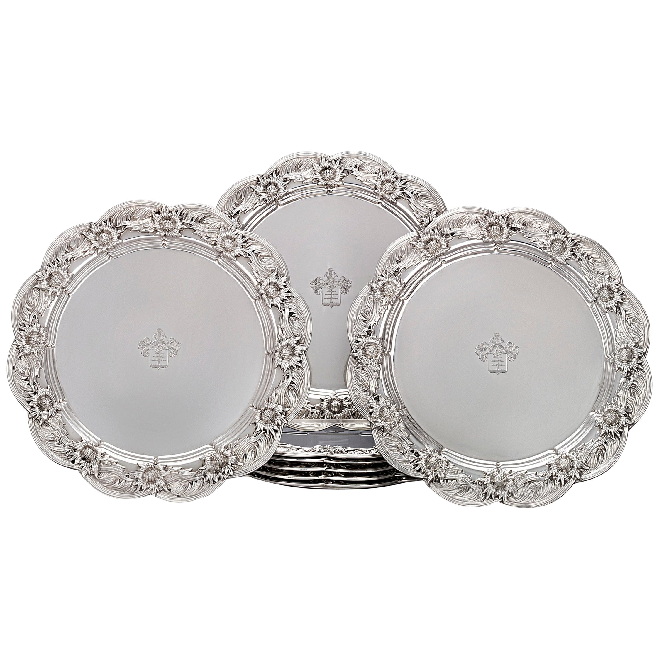 Chrysanthemum Sterling Silver Dinner Plates by Tiffany & Co