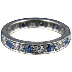 White Gold Sapphire and Diamond Full Eternity Ring, circa 1950