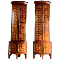 Rare 18th Century Dutch Corner Cabinets Pair of Inlaid Marquetry Monumental