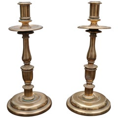 18th Century Pair of Spanish Brass Candleholders