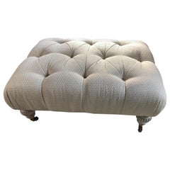 Luxurious Button Tufted Upholstered Ottoman