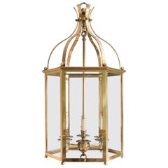 Substantial Brass Hexagonal Regency Style Hall Lantern