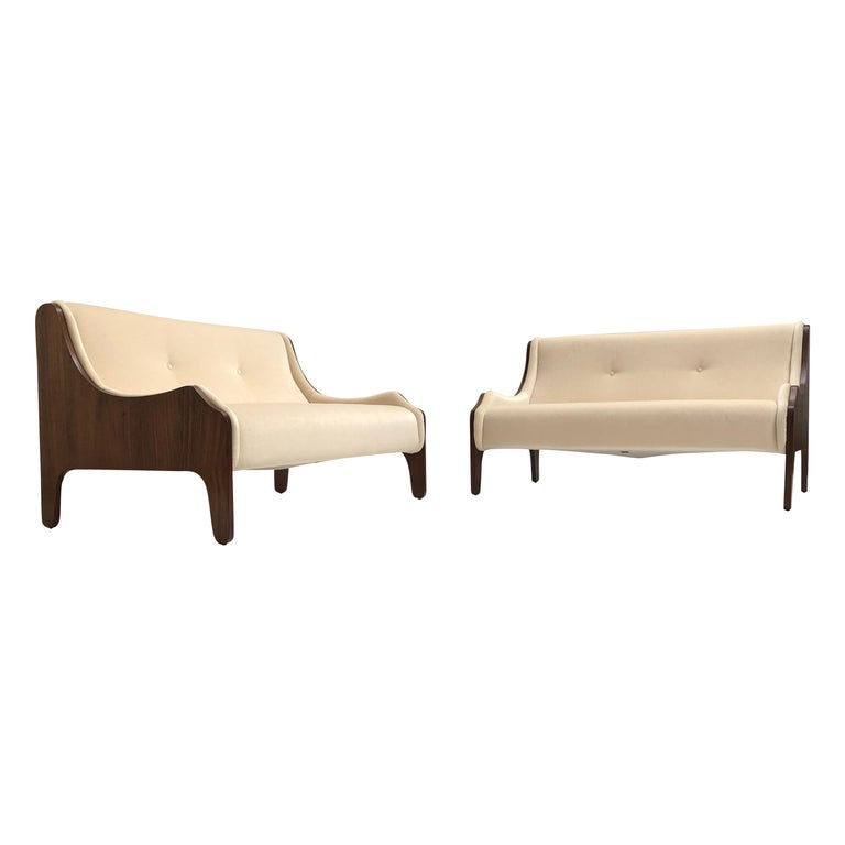 Pair of Marco Zanuso  'Milord ' Loveseats, Rosewood, Mohair, 1957, Arflex Italy For Sale