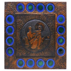 Copper Muralist Laszlo Buday Hand-Hammered Art Work Wall Decoration Panel, 1970