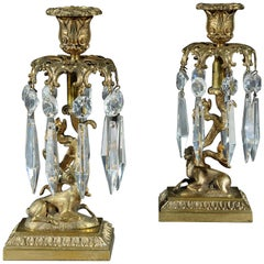 Pair of Early 19th Century Gilt Metal Candlestick Lustres