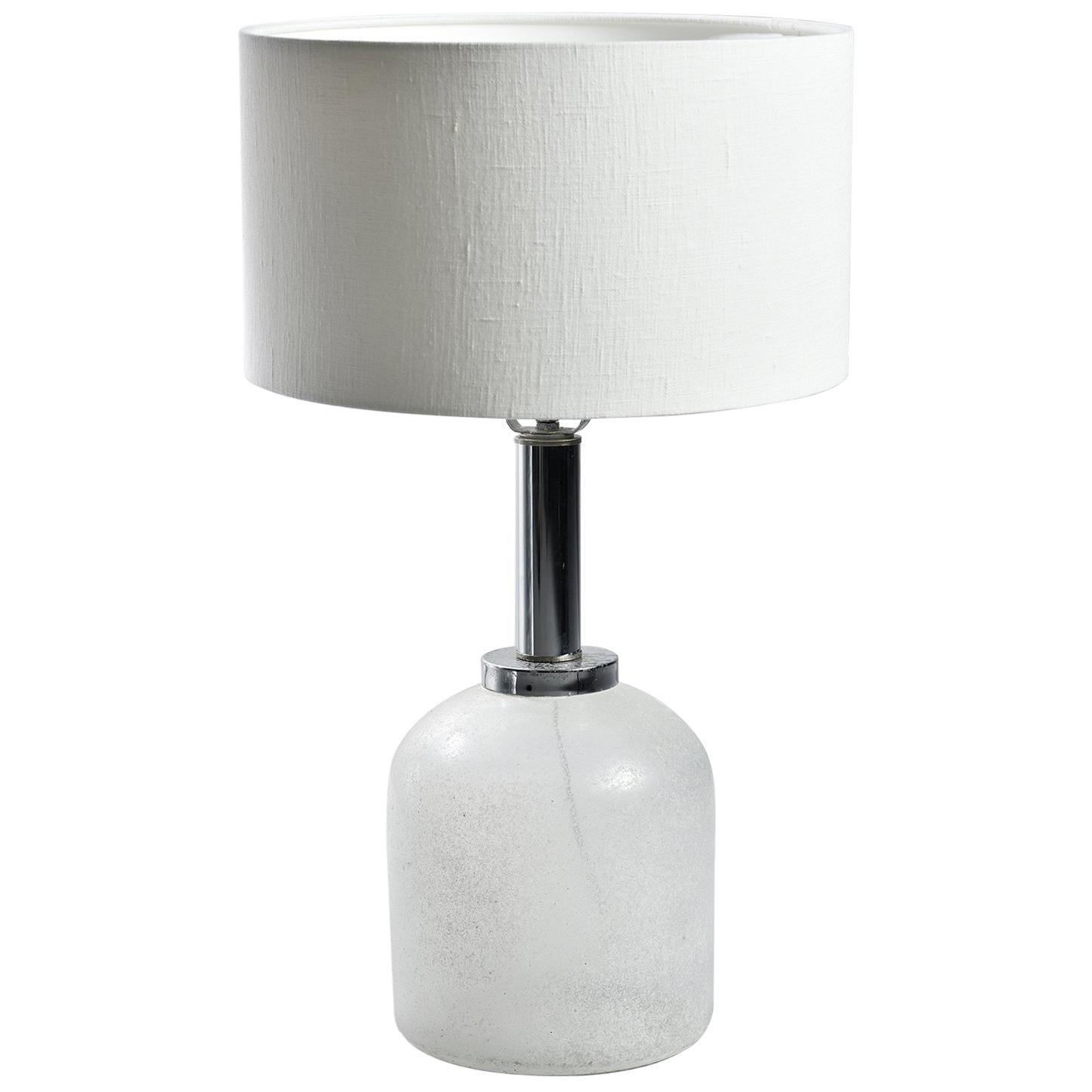 Seguso Vetri d'Arte White Scavo Style Murano Glass Lamp