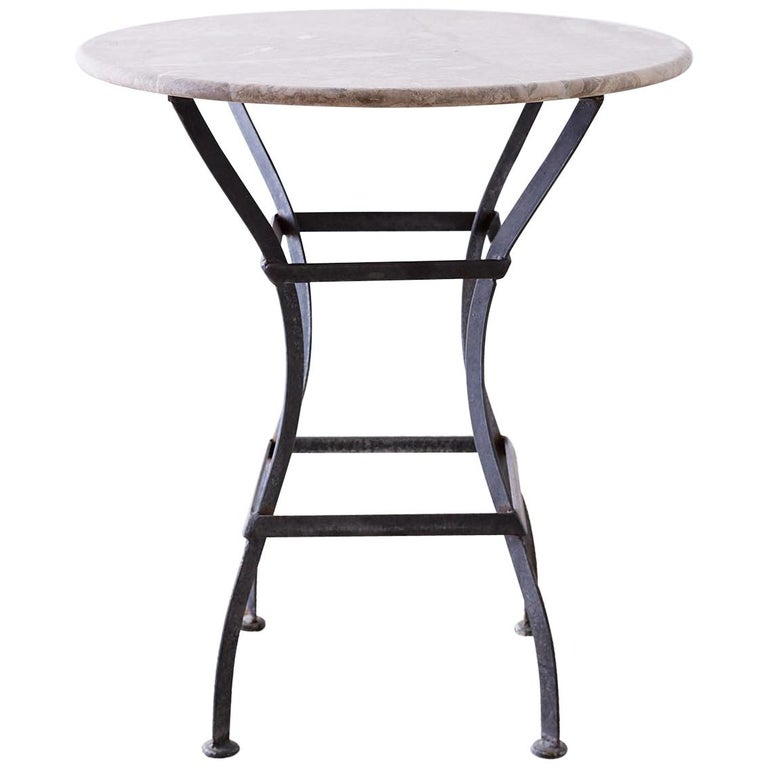 French Iron Stone Top Bistro or Cafe Table For Sale