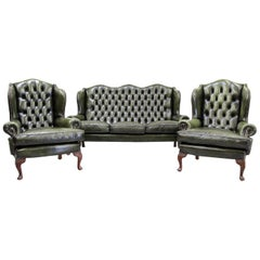 Chesterfield Sofa Set Armchair Wing Chair Couch Antique Sitzgar