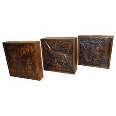 Three Original Hand-Hammered Copper Metal Wall Art Decoration Panels Monsters