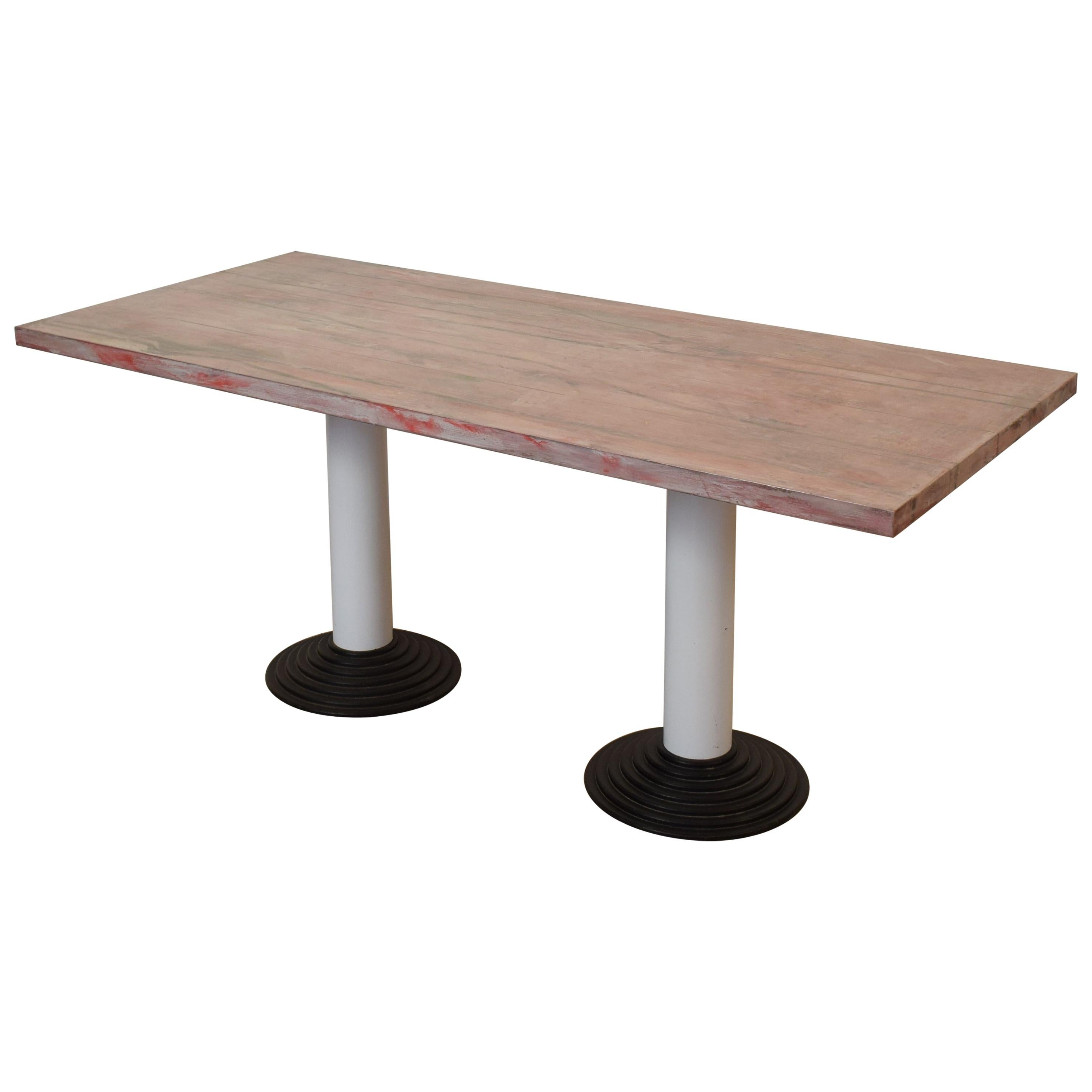 "Memphis Dining Table or Desk by Astori De Ponti ""Astragalo"" for Driade, 1982"