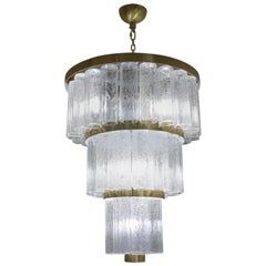 Toso Murano Mid-Century Modern Crystal Murano Glass Chandelier, 1984s