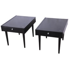 Merton Gershun for American of Martinsville Ebonized End Tables or Nightstands