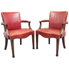 Pair of 19th Century Mahogany Library Armchairs