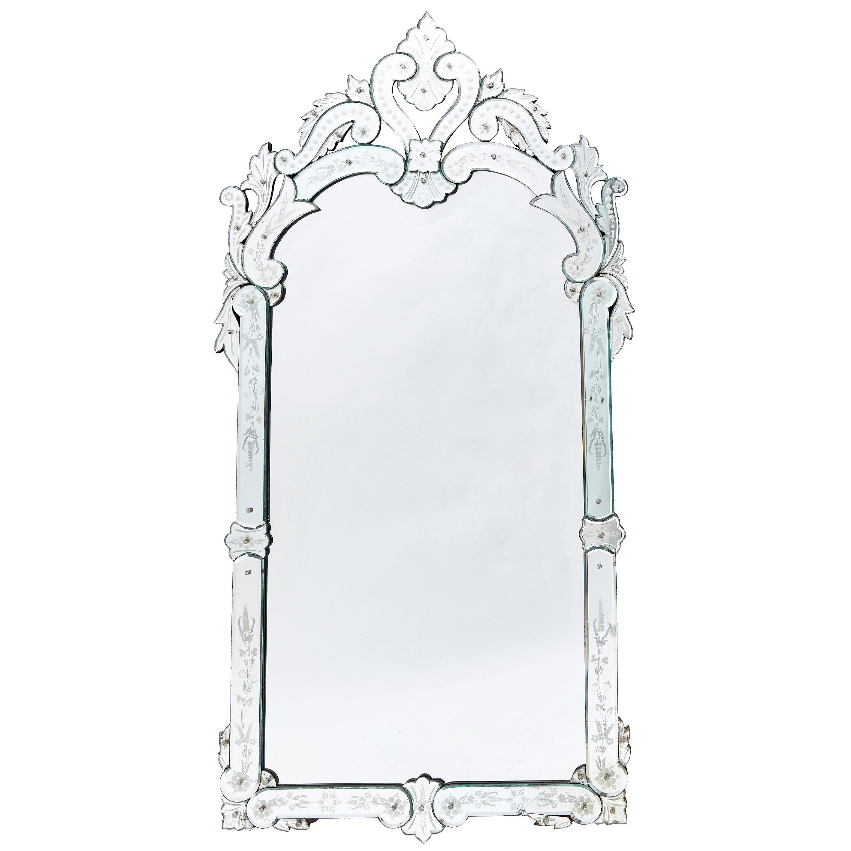 French Venetian Style Rococo Pier Mirror, circa 1900