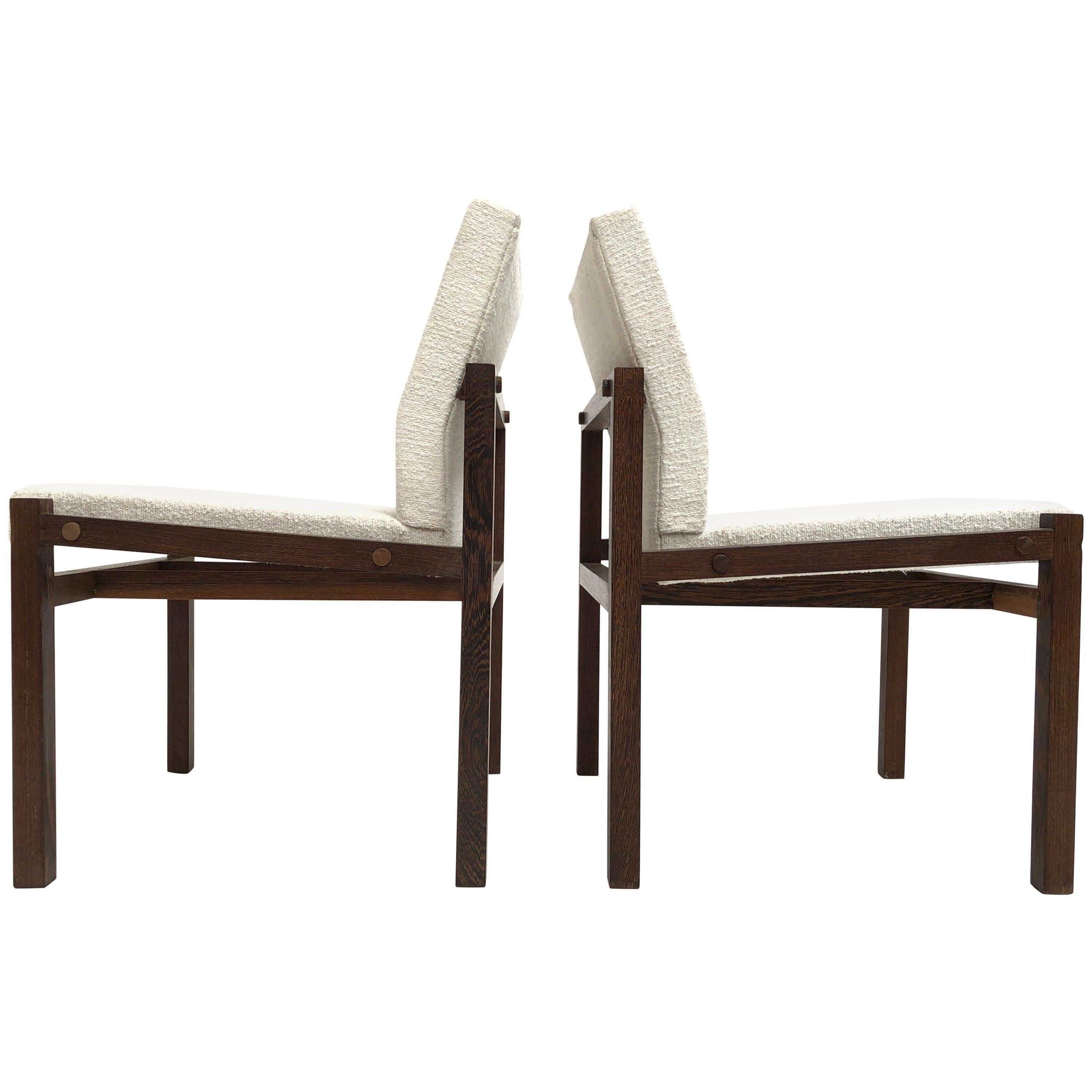 Dutch 1960s Lounge Chairs in Solid Wenge Wood and New Pure Wool Upholstery