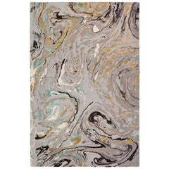 Marble Hand-Knotted 9x6 Rug in Wool and Silk by Rodarte