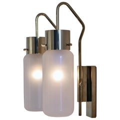 Pair of LP 10 Brass and Opaline Glass Wall Lights by Luigi Caccia Dominioni