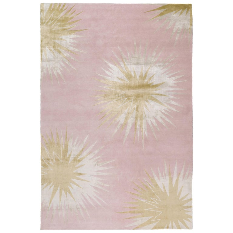 Thistle Gold Hand-Knotted 10x8 Rug in Wool and Silk by Vivienne Westwood For Sale