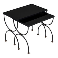 Black Glass Art Deco Period Nesting Tables