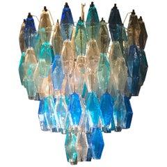 Murano Glass Poliedri Chandelier Ice Blue Acquamarina, Style of Carlo Scarpa
