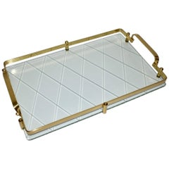 Fontana Arte Style Brass and Wheel Cut Glass Vanity or Accessory Tray