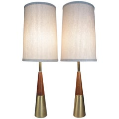 Pair of Walnut and Brass Lamps by Tony Paul