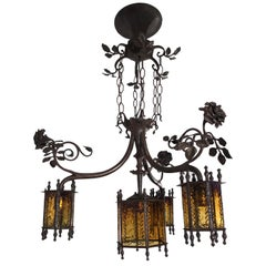 Exclusive Arts & Crafts Wrought Iron and Glass Chandelier with Rose Bush Theme
