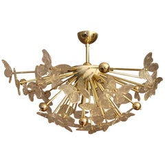 Half Sputnik Chandelier with Murano Glass Butterflies