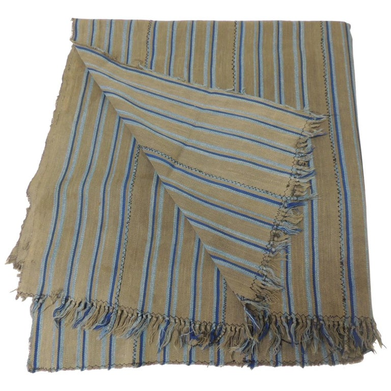 Vintage African Grey and Blue Stripes Yoruba Reversible Artisanal Cloth For Sale