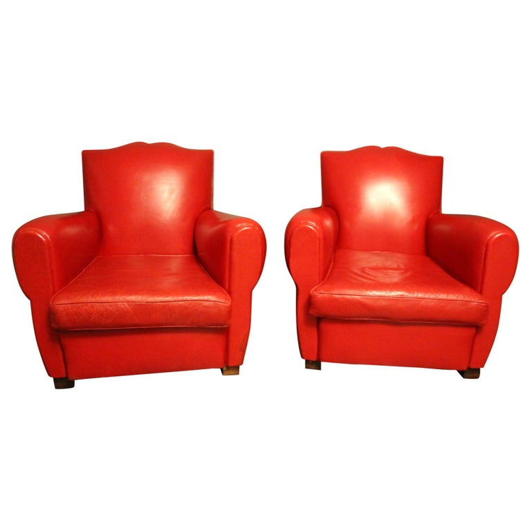 Pair of Art Deco French Mustache Back Club Chairs in Red Leather For Sale