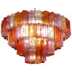 Midcentury Multicolored Murano Glass Tronchi Chandelier by T.Zuccheri for Venini