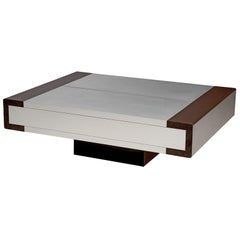Postmodern Coffee Table in Brushed Aluminium with Storage