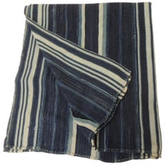 Vintage Yoruba and Baule Warp Ikat Indigo and Light Blue Stripes Cloth