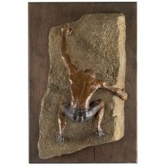 Bronze Wall Sculpture of a Rock Climber