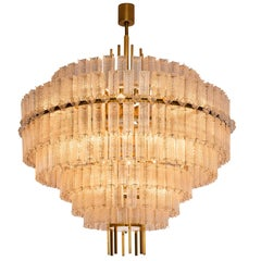 Pair of Very Large Circular Chandeliers in Brass and Structured Glass