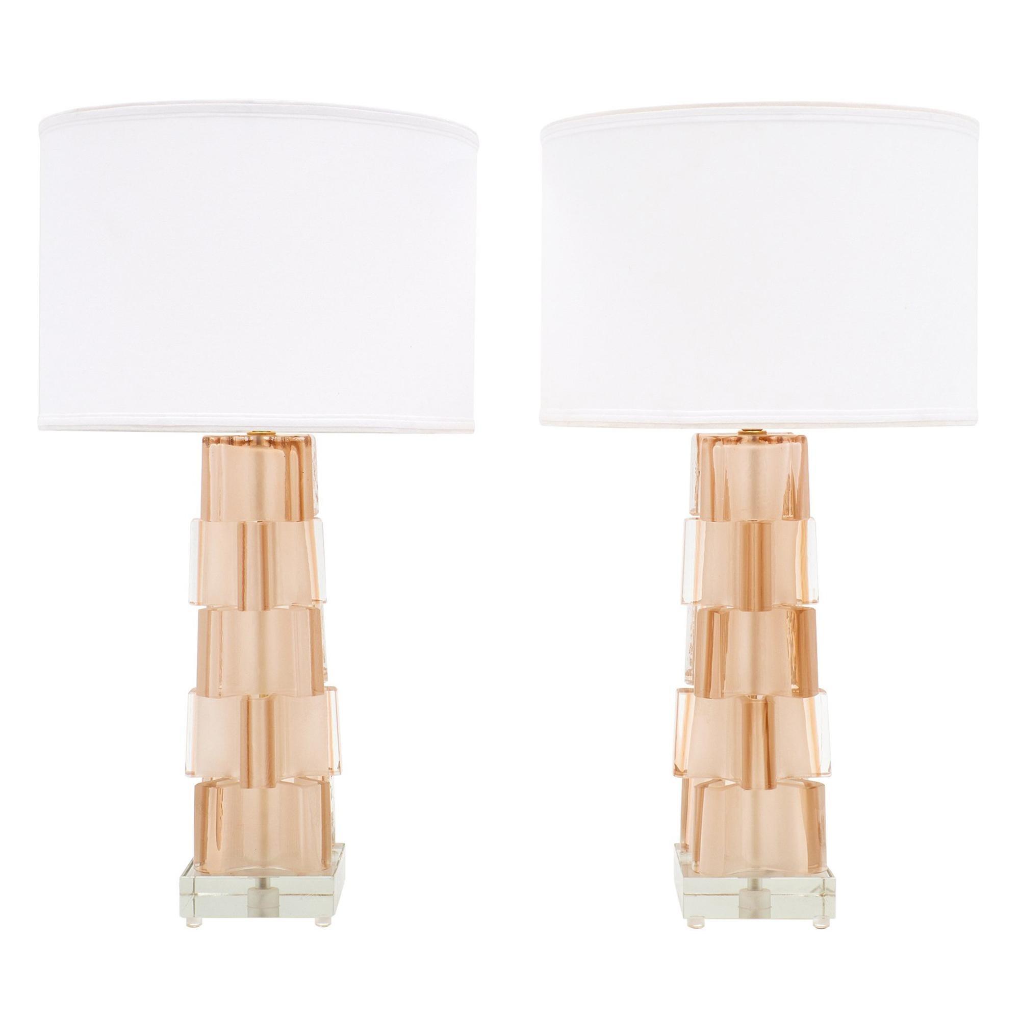 Murano Glass Pink Geometric Lamps