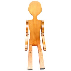 Folk Art Carved Wood Articulated Boy Sculpture