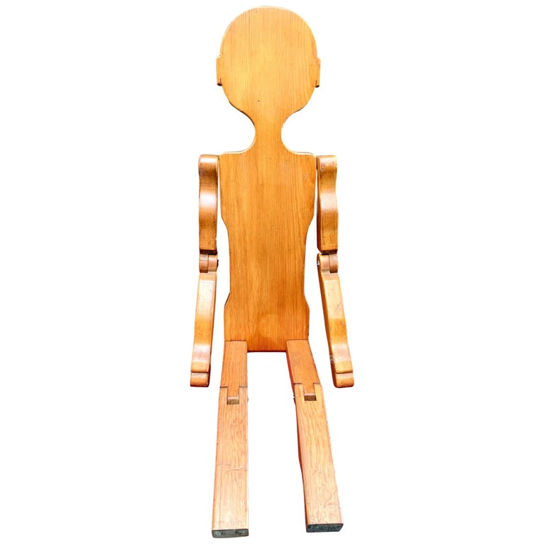 Folk Art Carved Wood Articulated Boy Sculpture For Sale