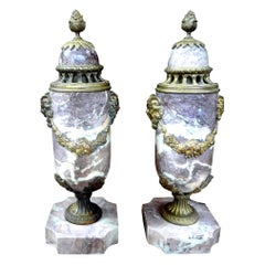 Pair of 19th Century French Louis XVI Style Marble Urns or Cassolettes