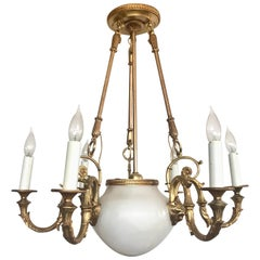 Bronze and Alabaster Empire Revival Six-Arm Chandelier