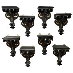 Set of 8 19th Century Napoleon III Period French Painted Wall Sconces