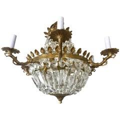 French Crystal and Gilt Bronze Twelve-Light Basket Chandelier