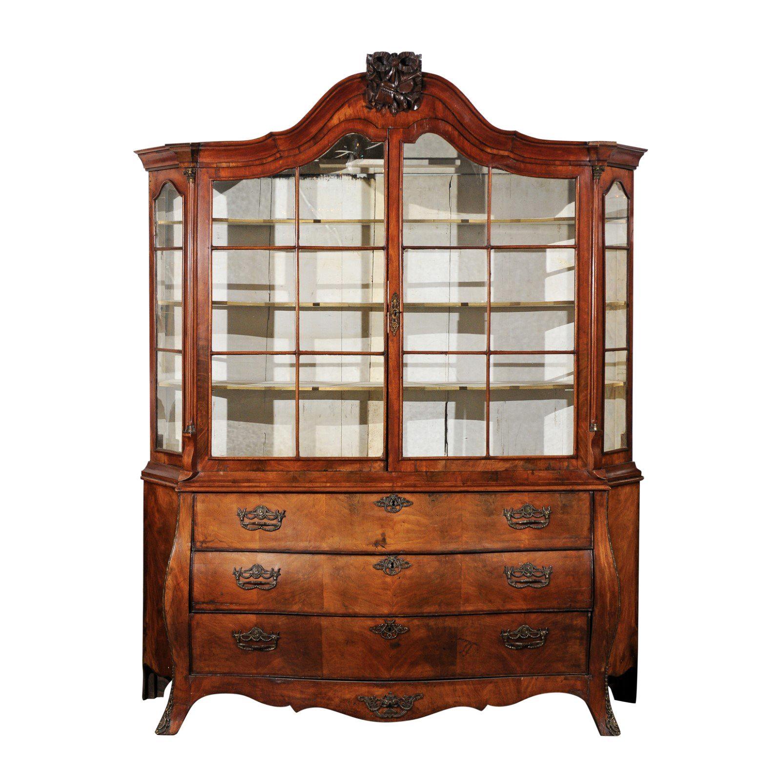 Dutch Rococo 1780s Walnut Vitrine with Bombé Chest, Glass Doors, Hunting Trophy