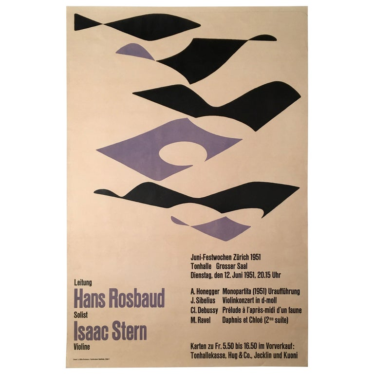 1951 Classical Music Concert Poster by J. Muller-Brockmann Featuring Isaac Stern For Sale