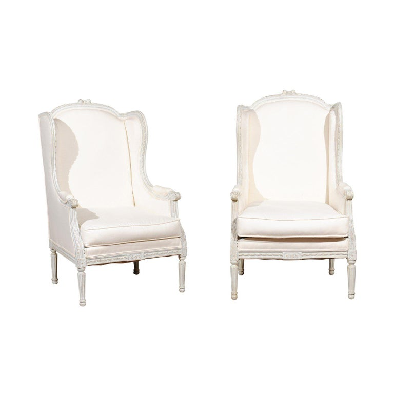 Pair of French 1890s Louis XVI Style Painted Wood Bergère Chairs with Upholstery For Sale