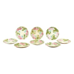 French 19th Century Majolica Plates with Raised Decor of Strawberries and Leaves